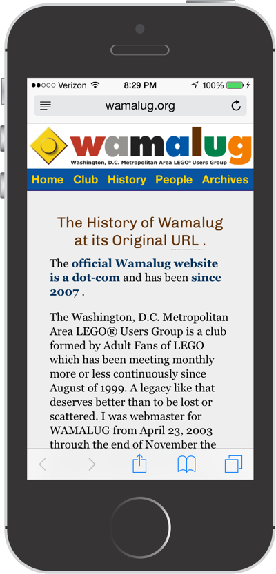 Wamalug has a mobile-friendly responsive design as seen on an Apple iPhone 5S.
